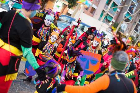 mummery: BARCELONA, SPAIN - FEBRUARY 4, 2016: Carnaval at Barcelona in evening time. Catalonia, Spain