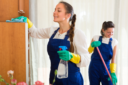 Cheerful professional cleaners crew make cleaning in the living-room