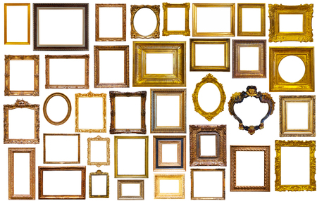 the silvery: assortment of golden and silvery art and photo frames isolated on white background