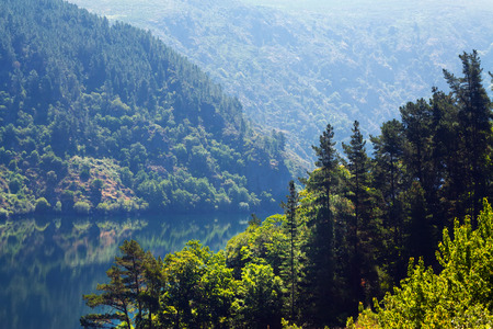 sil: Mountains landscape with lake in summer.  Galicia, Spain
