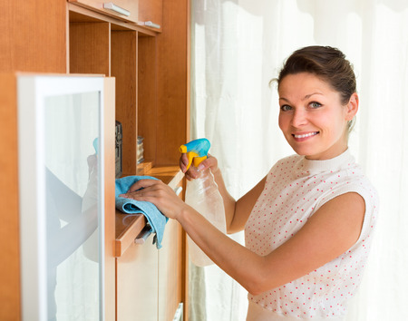 shred: Joyful young housewife cleaning cabinet with sprayer and shred