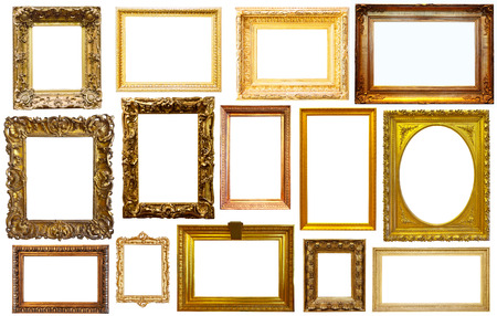Conjunto de marcos vacíos aislados de arte en el color dorado y plateado de