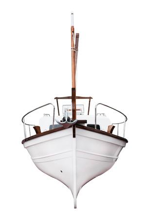 keel: Recreational motor yacht isolated on white close up
