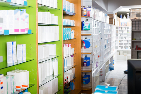 farmacy: Farmacy interior with pharmaceutical products and medicine in cabinets Stock Photo