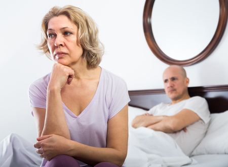 impotent: Frustrated aged man and his mature wife sorting out relationships in bed