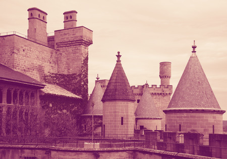 Towers of gothic castle. Olite, Spain. Toned photo Stock Photo