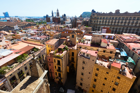 gotico: Barcelona - Barrio Gotico from Santa Maria del mar. Catalonia, Spain
