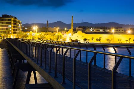 fabrica: Pier at beach of Badalona  in night. Catalonia, Spain