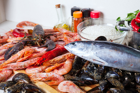 seasonings: raw seafoods and  seasonings at home kitchen