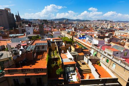 gotico: Roofs of Old city from Santa Maria del mar - Barcelona. Catalonia, Spain