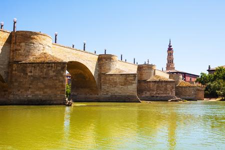 zaragoza: Medieval bridge over Ebro  in Zaragoza. Aragon