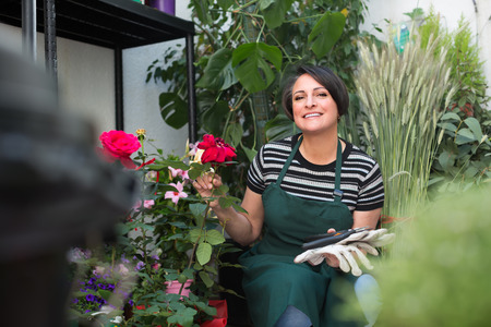 horticultural: Cheerful smiling female florist caring of flowers with horticultural tools in flower shop Stock Photo