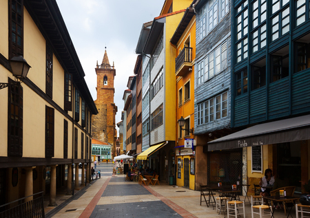 dwelling: OVIEDO, SPAIN - JULY 2, 2015:  Traditional  asturian  dwelling houses at old part of Oviedo. Asturias