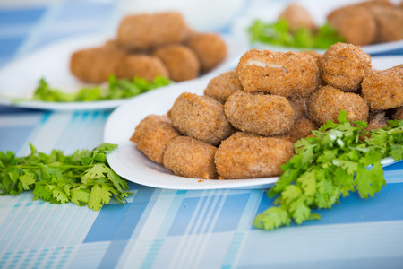 crocchette: Home-made croquettes filled with meat with parsley Stock Photo