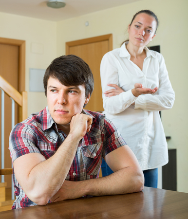 spanish home: Woman having problems with her adult spanish husband at home