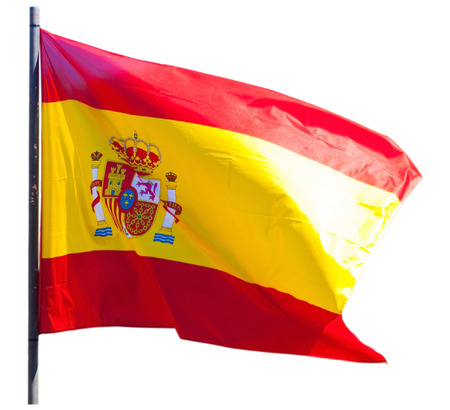 tricolour: Spanish tricolour fluttering isolated over white