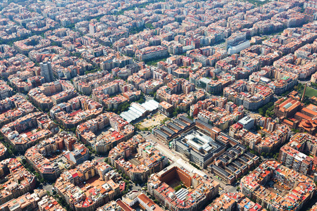 megacity: Aerial view of Barcelona. Eixample residential district