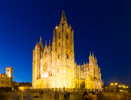 leon: Cathedral of Leon in night.   Spain