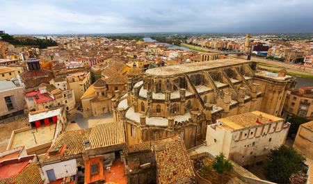 ebre: Cathedral from Suda castle in Tortosa.  Spain Stock Photo