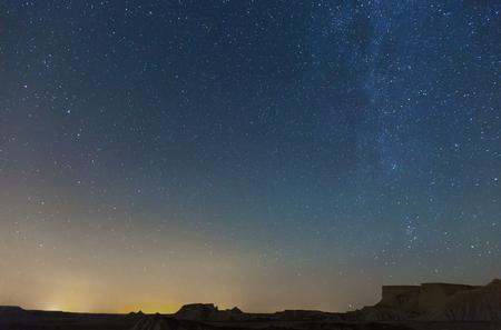nighty: nighty sky with many stars during summer  night over desert