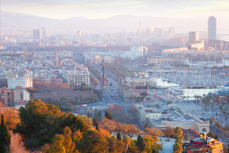 columb: Barcelona in early morning.  Spain Stock Photo