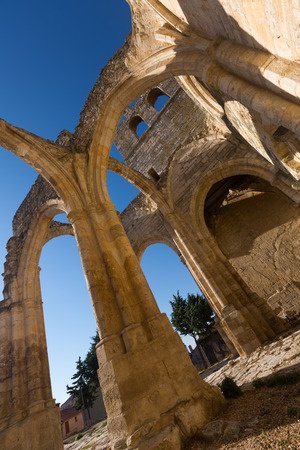 palencia province: abandoned of  Church of Santa Eulalia in Palenzuela.  Province of Palencia, Castile and Leon, Spain