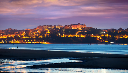 cityspace: View of the city from the Bay of Santander in  evening
