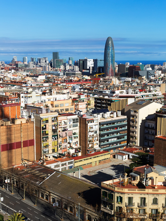 megacity: view of  residential  district of Barcelona. Catalonia, Spain
