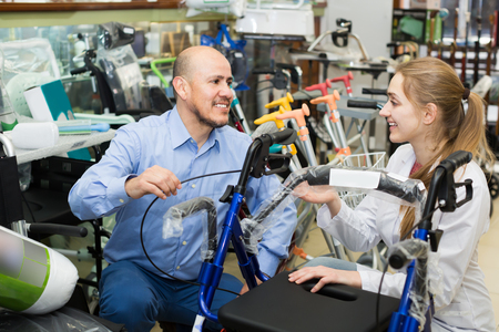 orthopaedist: Client asking girl about electric wheelchairs in store