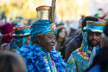the magi: BARCELONA, SPAIN - JANUARY 5, 2016: Cabalgata de Reyes Magos in Barcelona, Spain. Cavalcade of Magi is traditional parade of kings  in all Spanish cities