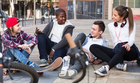 Teens chatting