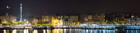 cruis: Panorama of Port  at Barcelona in night.  Spain Stock Photo