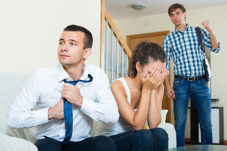 coming home: Husband unexpectedly coming home and discovering young wife cheating on him
