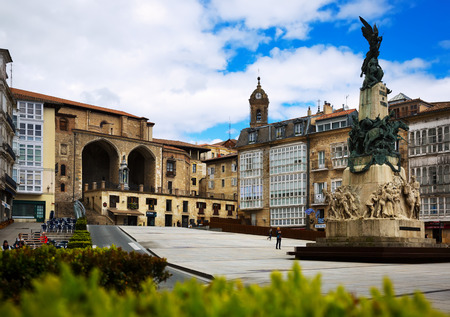 san miguel arcangel: VITORIA, SPAIN - APRIL 21, 2016:  Day view of Virgen Blanca Square. Vitoria-Gasteiz