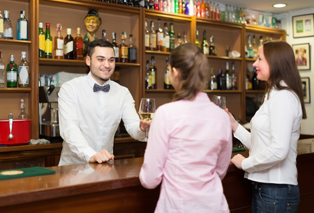 barmen: two female friends chatting and drinking wine in cafe Stock Photo