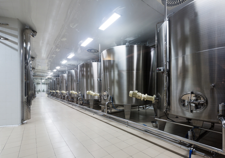 stell: equipment of contemporary winery with  stell barrels Editorial