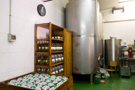 storehouse: Closeup of storehouse at olive oil industry