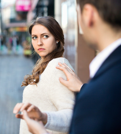 unwelcome: Young man does not succeed in getting acquainted with girl