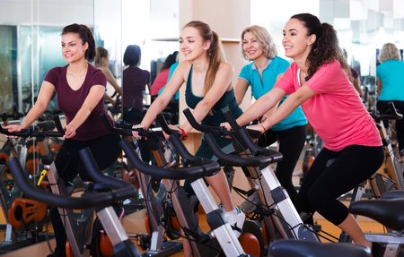 Positive Females Of Different Age Training On Exercise Bikes