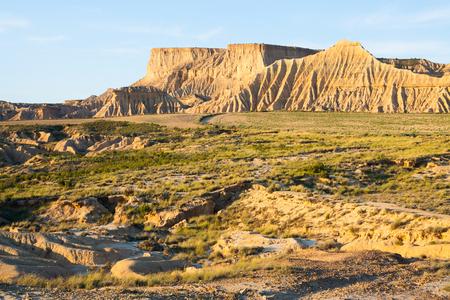 navarra: cliff at semi-desert landscape of Navarra  in sunny morning