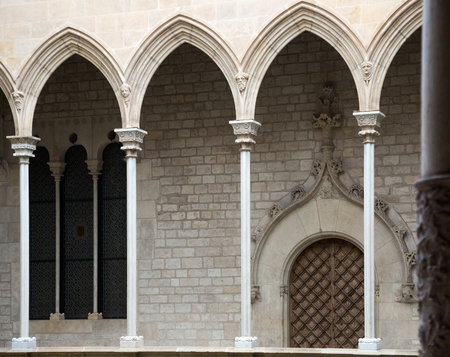 dated: Gothic architecture gallery dated 15th century in palace Generalitat de Catalunya. Barcelona