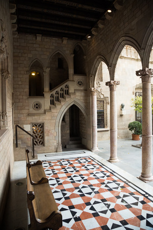 generalitat: Gothic gallery and inner courtyard in palace Generalitat de Catalunya dated  15th century. Barcelona, Spain Editorial