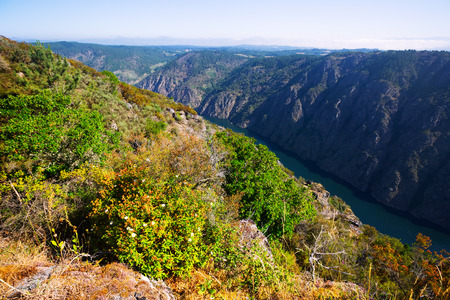 sil: Mountains landscape with river with steep rocky banks in sunny summer day. Galicia,  Spain Stock Photo