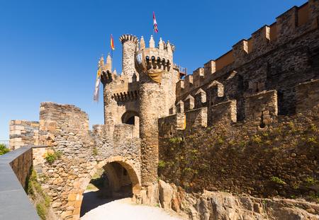 castile: Bridge and gate of the Templar Castle, built in the 12th century. Ponferrada, Castile and Leon, Spain
