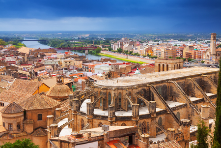 ebre: Top view of Tortosa with Cathedral from Suda castle. Spain Stock Photo