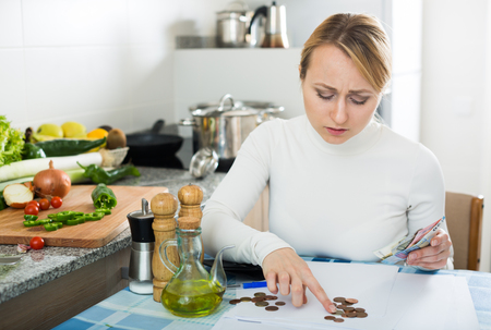 householder: Depressed broke blonde posing in kitchen with coins and bills