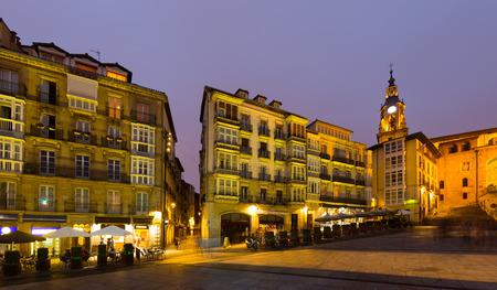 blanca: Night view of  Virgen Blanca Square.  Vitoria-Gasteiz