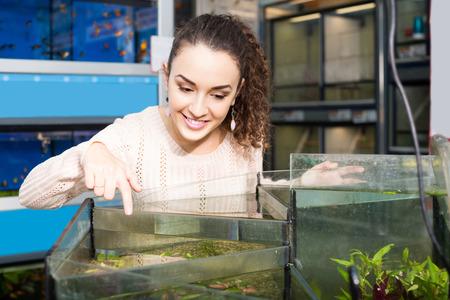fish tank: smiling female customer watching tropical fish in aquarium tank Stock Photo