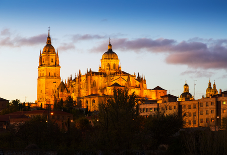 castile and leon: Salamanca Cathedral   in autumn  dusk. Castile and Leon, Spain