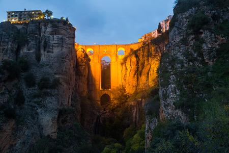 nuevo: Evening view of Ronda with Puente Nuevo bridge. Spain